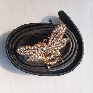 New! Black Rhinestone Faux Leather Bee Belt